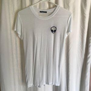 BRANDY MELVILLE White Alien Patch T Shirt